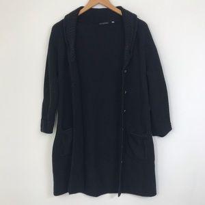 Elie Tahari Black Cotton & Silk Knit Cardigan Sz L